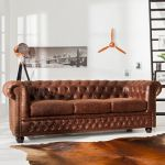 Sofa Chesterfield vintage 3 brązowa  2