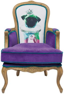 FOTEL VILLA GRANDFATHER MOPS purple KARE DESIGN 76138 0