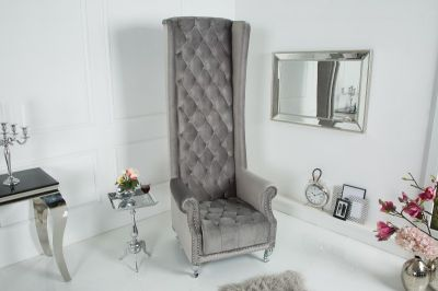 Fotel Queen Royal Chair Deluxe szary velvet