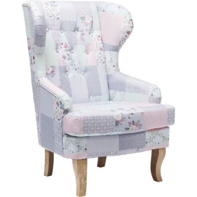 Fotel Wing Chair patchwork Powder Promo