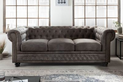 Sofa Chesterfield 3 antik look szara