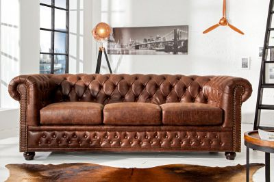 Sofa Chesterfield vintage 3 brązowa