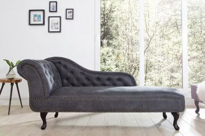 Leżanka Szezlong Chesterfield Antik Look szara