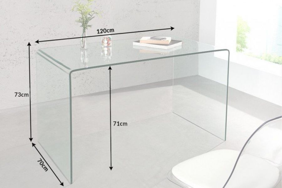 Biurko Clear Club 120 cm szklane  - Invicta Interior