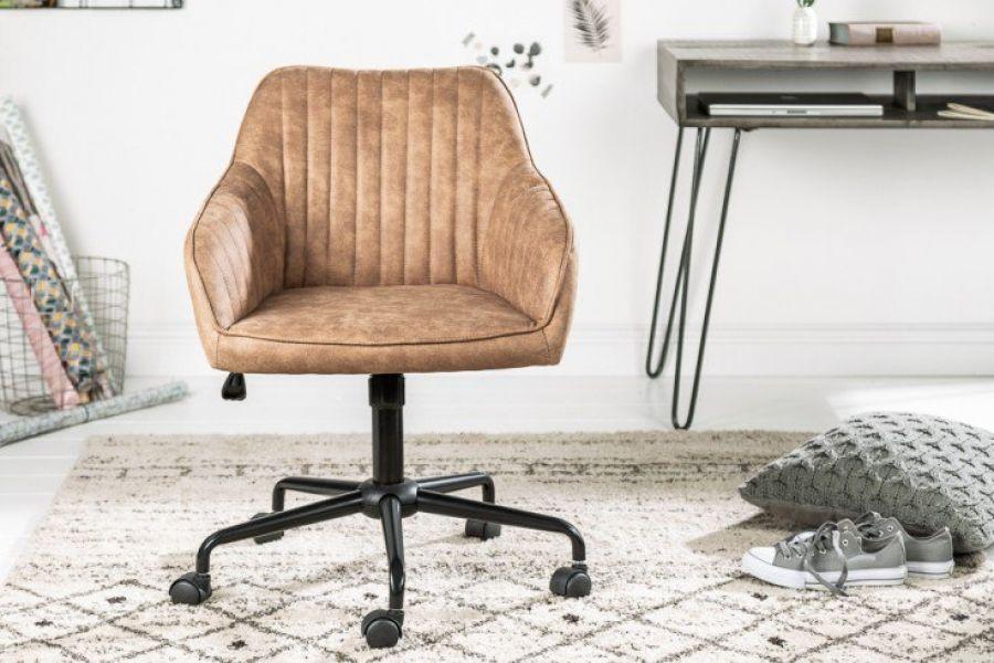 Krzesło biurowe z podłokietnikiem TURIN taupe vintage 39348