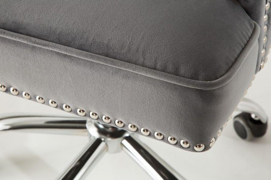 Krzesło biurowe Fotel Victorian szare aksamitne (629,00 zł