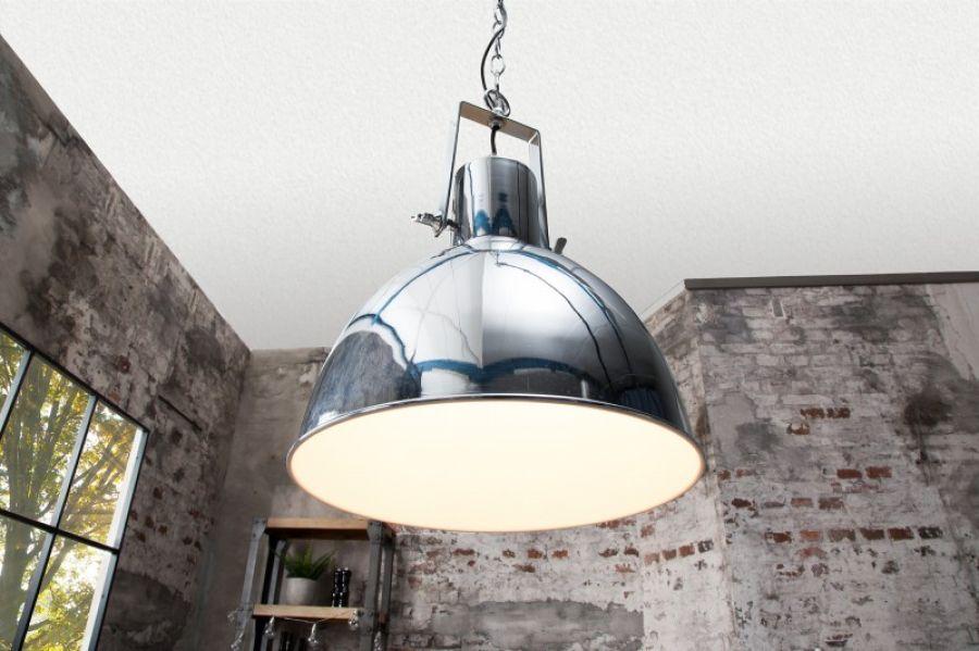 Lampa Industrialna Factory Ii 40 Cm Srebrna Biala Planeta Design