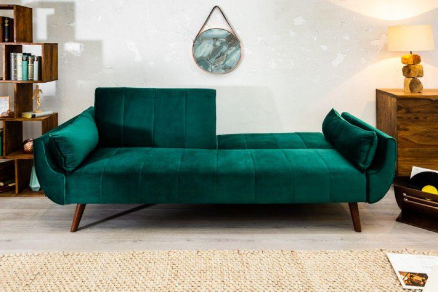 Sofa Rozkładana Wersalka Divani Zieleń Butelkowa Retro Desig