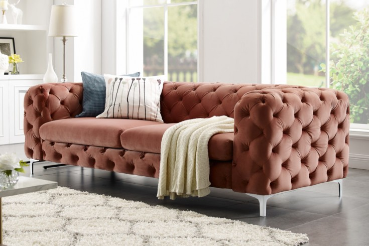 sofa modern barock 3 chesterfield design apricot 38715. Black Bedroom Furniture Sets. Home Design Ideas