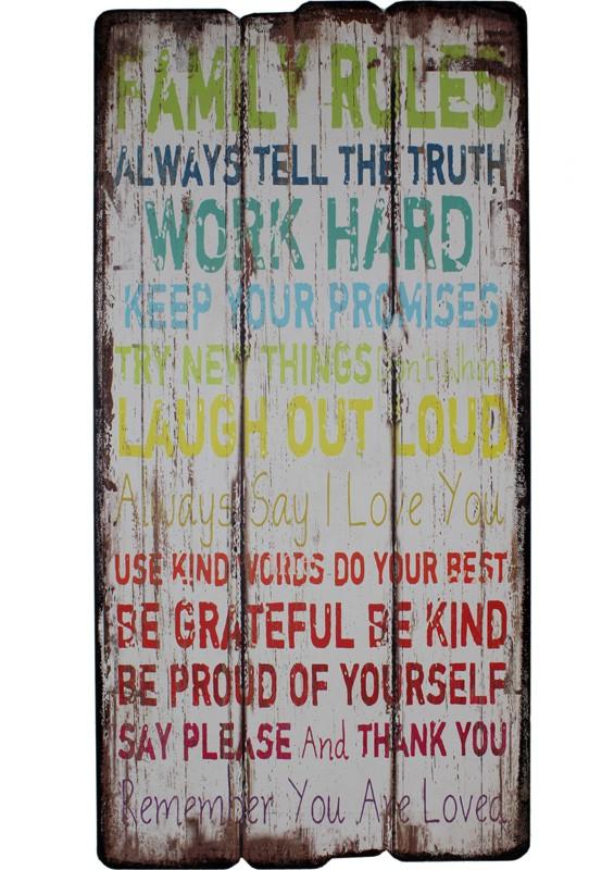 tablica drewniana retro z napisem family rules meble
